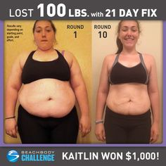 Kaitlin Molaison, age 21, lost 100 lbs in one year with 21 Day Fix. She entered her results into The Beachbody Challenge and won $1,000! Tell us about your