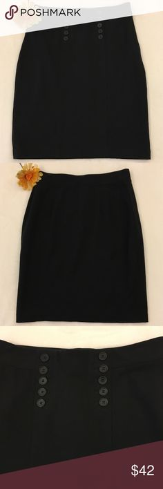 Ann Taylor Black Pencil Mini Skirt Size 6 Flattering mini pencil skirt from Ann Taylor with fake buttons down front. Side zipper. Rayon, nylon, spandex blend. Very stretchy! EUC.   Waist: about 14.5 inches across front, and very stretchy  Length: about 21.5 inches (I'm 5'4 and it just reaches my knees) Ann Taylor Skirts Pencil