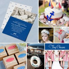 Nautical inspiration board featuring Tiny Charms wedding stationery and gift/favor packaging.