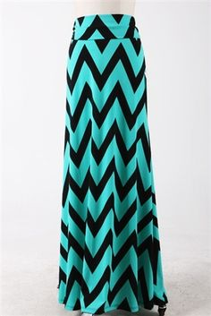 684e9c5b2f26d3 This popular and modest maxi skirt is comfortable and flattering and  features black and mint color block chevron print.