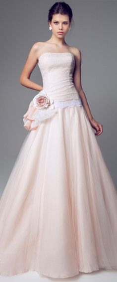 Blumarine - 2014 - Pink Wedding Dress - Strapless A-line Gown with Lace Accent