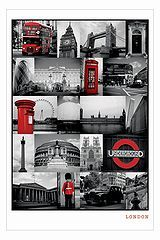 London Red Collage Poster