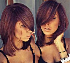 Burgundy plum blonde highlights ❤️ love the fringe