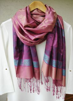 Multicolored Plaid Pashmina Scarf, Pink and Violet Scarf, Silky scarf, Fall- Spring scarf, infinity scarf, Gypsy Wrap, gift for her by fourseasonsscarf on Etsy