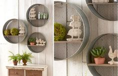 "ROUND GALVANIZED WALL SHELVES -- arge - 20"" Diameter x 6"" Deep, Medium - 17"" Diameter x 6"" Deep, Small - 16"" Diameter x 5"" Deep -- SET OF 3 for $110 + $5 ship =="