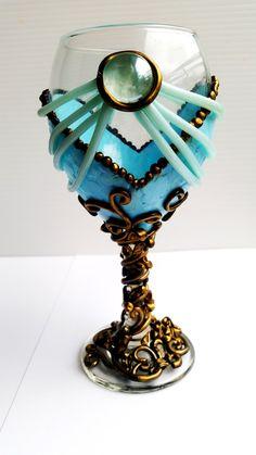 Cinderella, Wine Glass, Drinkware, Barware, Disney, Polymer, Clay, Gift, Birthday, Party, Wedding, Shower