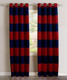 Navy U0026 Red Rugby Stripe Room Darkening Curtain
