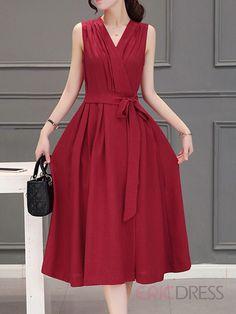 Ericdress Summer V-Neck Soild Color Agraffe Maxi Dress Maxi Dresses Red Dress Casual, Casual Formal Dresses, Trendy Dresses, Modest Dresses, Elegant Dresses, Vintage Dresses, Beautiful Dresses, Nice Dresses, Fashion Dresses