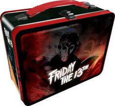 This roomy tin lunch box features creepy horror art of Jason Voorhees from Friday the films! Box measures 8 x x 4 inches, has a hinged lid and is perfect for storing all kinds of stuff! Tin Lunch Boxes, Vintage Lunch Boxes, Metal Lunch Box, Tin Boxes, Lunch Containers, Creepy Horror, Horror Art, Horror Decor, Horror Films