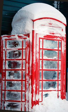 .Black & White and RED!!!  ~  Red Phone Booth in Winter....Please call...I've been waiting to hear from you <3 !!!