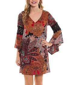 Look at this #zulilyfind! Rust Floral Bell-Sleeve Shift Dress #zulilyfinds