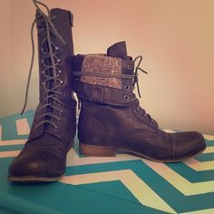 """Madden Girl Lace Up Boots Mid calf lace up boots with red zipper and """"wool sweater"""" interior. Some dirt stains on toes, but could be polished out. Madden Girl Shoes Combat & Moto Boots"""