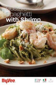 We love everything about this pasta dish. From the warm Gustare Vita pesto pasta to the lemon-infused shrimp. Chef Recipes, Seafood Recipes, Pasta Recipes, Whole Food Recipes, Italian Dishes, Italian Recipes, Weeknight Meals, Easy Meals, Healthy Snacks