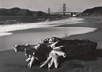 Pirkle Jones, Log and Golden Gate Bridge, San Francisco, from Portfolio Two..., 1952; ca. 1968; photograph; gelatin silver print; Collection SFMOMA, Acquired through purchase and exchange; © The Pirkle Jones Foundation