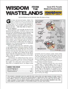 Wisdom from the Wastelands Issue #12: Parasite Mutations/Transformations - Skirmisher Publishing | Wisdom from the Wastelands (Mutant Future) | Copper Best Sellers | DriveThruRPG.com