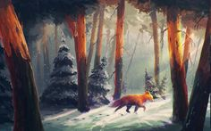 nature, Animals, Snow, Artwork, Digital Art, Forest, Sylar, Sunlight, Fox HD Wallpaper Desktop Background