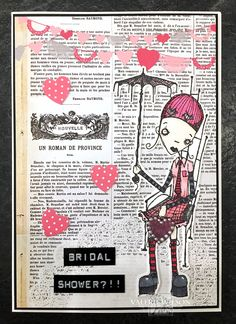 Artwork created by Valerie Wilson using rubber stamps designed by Daniel Torrente for Stampotique Originals