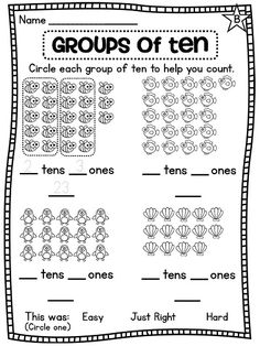 Place value practicing making groups of ten to help count faster