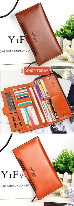 Women Oil Leather Ultrathin Wallet Bright PU Leather Purse Wallet sales at a good price. Come to Newchic to buy a wallet, more cheap women wallets are provided online. Leather Purses, Leather Wallet, Pu Leather, Leather Handbags, Things To Buy, Stuff To Buy, Thing 1, Womens Purses, Luxury Handbags