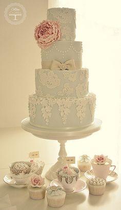 Peony & Lace wedding cake | Flickr - Photo Sharing!