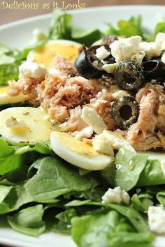 Greek Tuna Spinach Salad