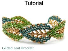 Gilded Leaf Bracelet Beaded Russian Leaves Beading Tutorial Pattern