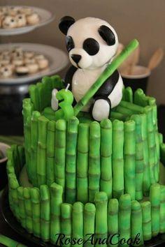 Panda Bear and Bamboo cake. Great idea )sans the birthday part)! Panda Bear Cake, Panda Cakes, Bear Cakes, Panda Bears, Dog Cakes, Panda Birthday Party, Panda Party, Rodjendanske Torte, Jungle Cake