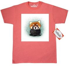 Inktastic KiniArt Red Panda T-Shirt By KiniArt Cat-bear Bear-cat Lesser Hippopotamus Elephant Rabbit Beaver Owl Hedgehog Hippo Badger Mens Adult Clothing Apparel Tees T-shirts Kim Niles, Size: Large, Grey
