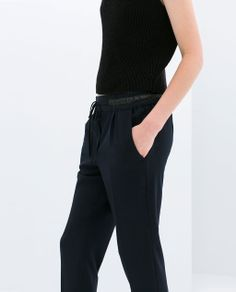 Image 5 of TROUSERS WITH FAUX LEATHER WAIST from Zara