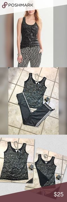 Banana Republic Luxe sequin black tank💋 Sold out online and in stores this is a sure cute must have multiple use front black sequin tank - can be dressed up or casual- lovely Banana Republic Tops Tank Tops