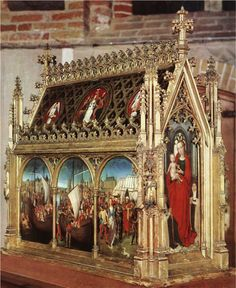 St Ursula Shrine (1489) by Hans Memling (1430-1494) Gilded and painted wood, 87 x 33 x 91 cm Memlingmuseum, Sint-Janshospitaal, Bruges