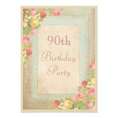 414 best elegant birthday party invitations images on pinterest elegant vintage roses 90th birthday party 5x7 paper invitation card filmwisefo
