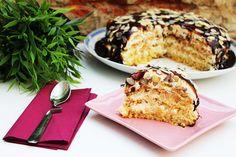 Tort cu blat din banane ,crema caramel si frisca