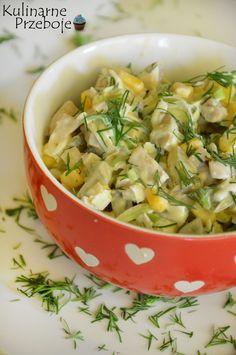 Sałatka z marynowanymi pieczarkami i porem, Sałatka pieczarkowa i porem, sałatka z pieczarkami marynowanymi, ogórkami kiszonymi, kukurydzą i porem. Veg Recipes, Salad Recipes, Vegetarian Recipes, Cooking Recipes, Healthy Recipes, Recipies, Appetizer Salads, Appetizer Recipes, Appetizers