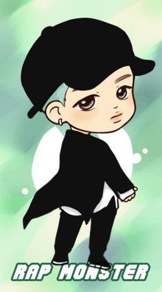 Bts, rap monster, and kpop image Bts Chibi, Naruto Chibi, Chibi Manga, Bts Rap Monster, Bts Jungkook, Namjoon, Chibi Tutorial, Chibi Poses, Fanart Bts