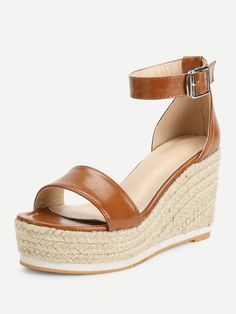 3e0fcf4090a Ankle Strap Espadrille Wedges -SheIn(Sheinside)  ontrendfashion   summerstyle  wedges