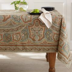 Gentil Engineered Paisley Print Tablecloth In Shades Of Rust, Taupe, Brown, And  Blue