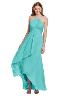 47a7a1d55e4c AWEI Sleeveless Bridesmaid Dress High Low Women Formal Dress Plus Size Maxi  Dress Tiffany US20 *
