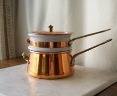 Copper and Ceramic Double Boiler made by Taurus by cynthiasattic