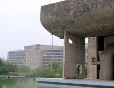 Vidhan Bhavan ( Legislative Assembly). Part of city center development. Chandigarh, India. 1951-1965. Le Corbusier,