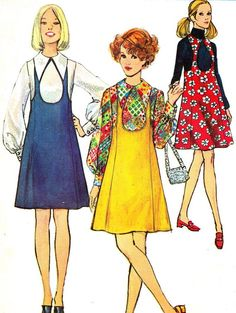 dress patterns from the 1960s | 1960s Dress Pattern Simplicity 8655 Mod Pinafore | 60's fashion