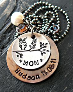 Personalized Jewelry - Hand Stamped Necklace - Owl Necklace - Sterling Silver and Copper - Pearl Crystal with Initals. $55.00, via Etsy.