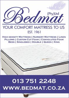 Bedmat is a bed and mattress company. We operate from a large warehouse where we stock beds and SABS approved mattresses for all shapes  and sizes. Our range is Chiropractic endorsed and comes with guarantees and warrantees. We sell both retail and wholesale to the public, hospitality, medical and décor industries.  Our specialty products include Rest Assured, Cloud Nine, memory foam and i-sleep mattresses and base sets and 100%  cotton non-iron Wunder Sheets. Bed and Mattress shop