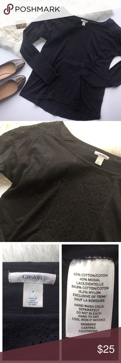 """✨SUPER SALE✨ CASLON Blk Long Sleeve Eyelet Detail The perfect long sleeve with fun eyelet detail on shoulders and front! Easy to wear casually with skinny jeans & booties or layer under a blazer and add heels for a dressed up vibe! Excellent pre-loved condition, no flaws. True to size.  Approx. Measurements  Bust: 19"""" Length: 24"""" front 26.5"""" back 🛍Bundle & Save 20% on 2+ items! 🙅🏼No trades / selling off of Posh.  ✨Offers always welcome!✨ Nordstrom Tops Tees - Long Sleeve"""