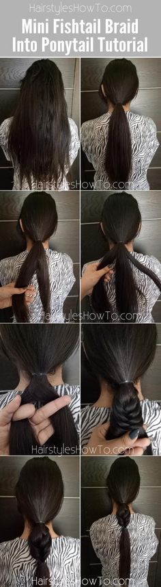 Mini Fishtail Braid into Ponytail Tutorial - Home Beauty Tips For Skin, Natural Beauty Tips, Beauty Hacks, Hair Beauty, Braided Ponytail, Ponytail Hairstyles, Cool Hairstyles, Ponytail Tutorial, Different Hairstyles