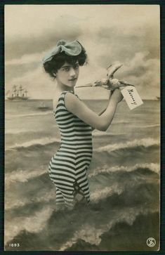 Edwardian Bathing Beauty Strips Swimsuit woman 1910s photo