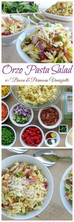 Orzo Pasta Salad with Bacon & Parmesan Vinaigrette Easy Pasta Recipes, Easy Chicken Recipes, Vegan Recipes Easy, Side Dish Recipes, Easy Dinner Recipes, Italian Recipes, Salad Recipes, Delicious Recipes, Soup Recipes
