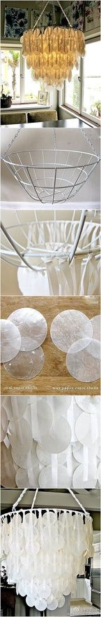 DIY Chandelier~ Can even sub in circle cut wax paper or circle cut milk jugs instead for  a similar look at a fraction of the cost