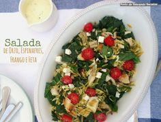 Salada de orzo de frango, espinafres e feta ( com molho de iogurte e maionese)