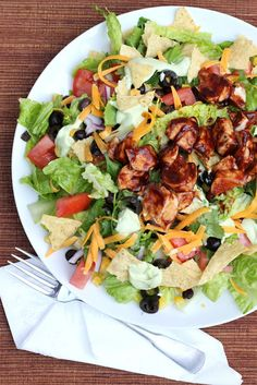 BBQ Chicken Chopped Salad with Creamy Avocado Dressing - A Hint of Honey